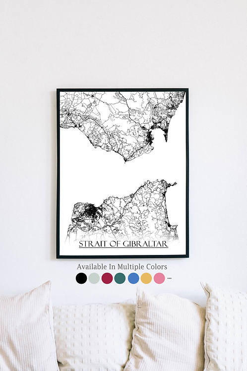 Print of Strait of Gibraltar and all its roads