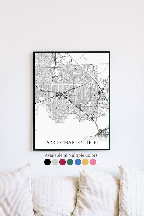 Print of Port Charlotte, FL and all its roads