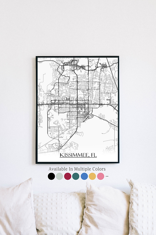 Print of Kissimmee, FL and all its roads