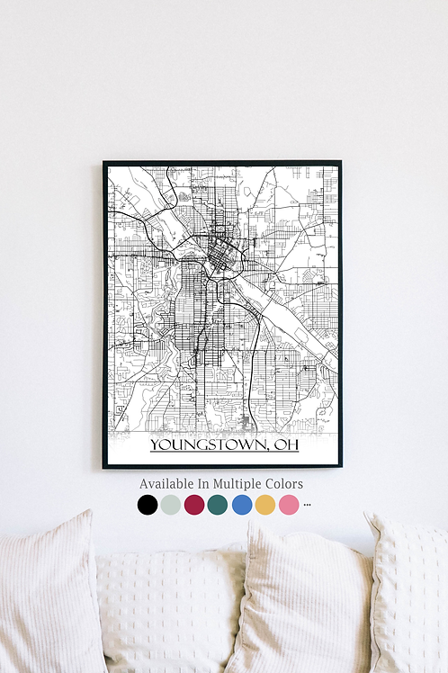 Print of Youngstown, OH and all its roads