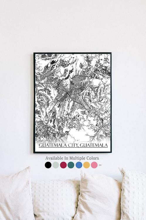 Print of Guatemala City, Guatemala and all its roads