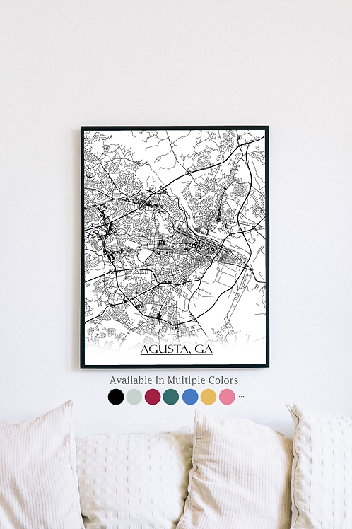 Print of Agusta, GA and all its roads