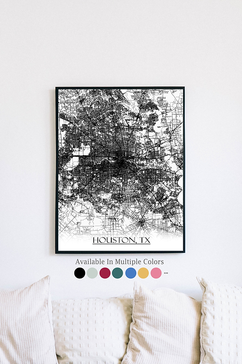 Print of Houston, TX and all its roads