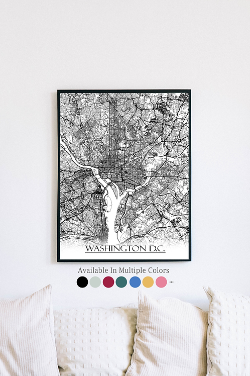 Print of Washington D.C. and all its roads