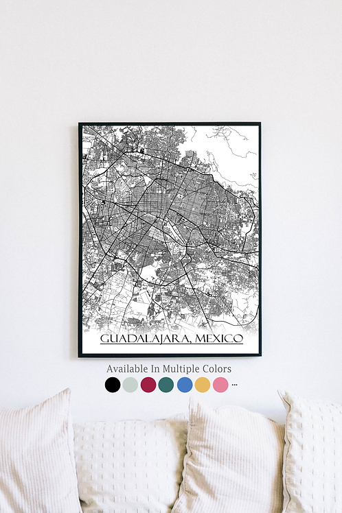 Print of Guadalajara, Mexico and all its roads