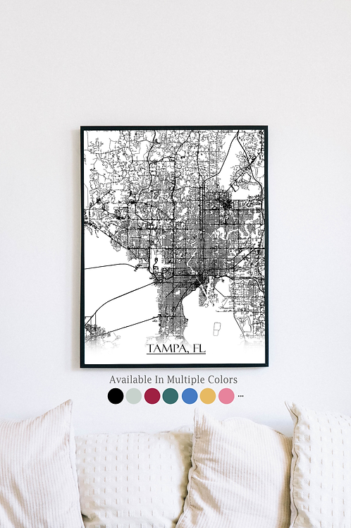 Print of Tampa, FL and all its roads