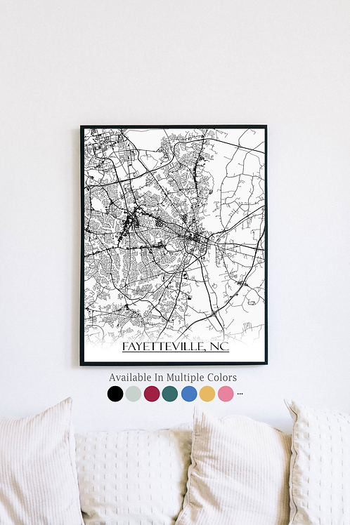 Print of Fayetteville, NC and all its roads