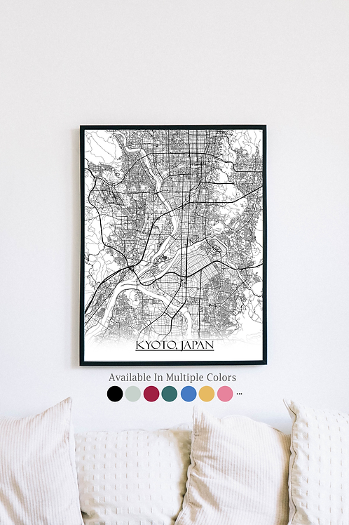Print of Kyoto, Japan and all its roads