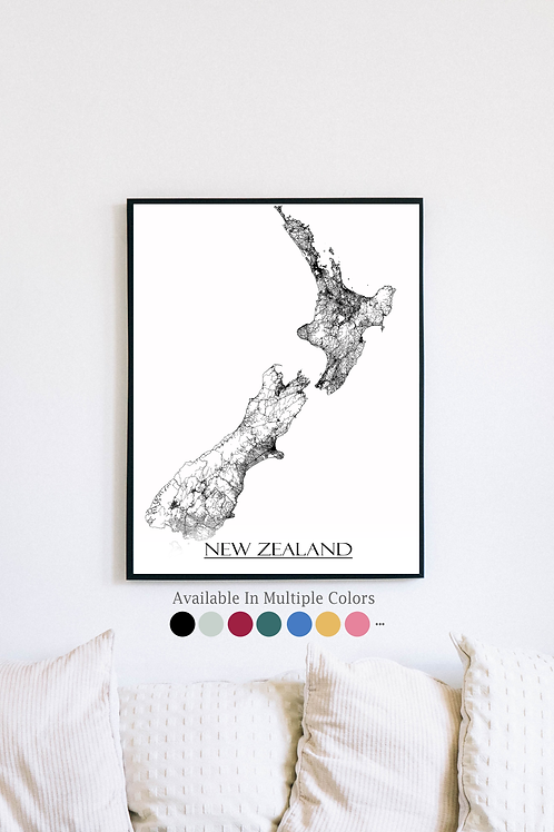 Print of New Zealand and all its roads