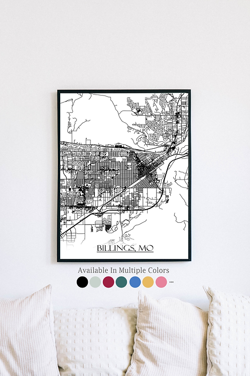 Print of Billings, MO and all its roads
