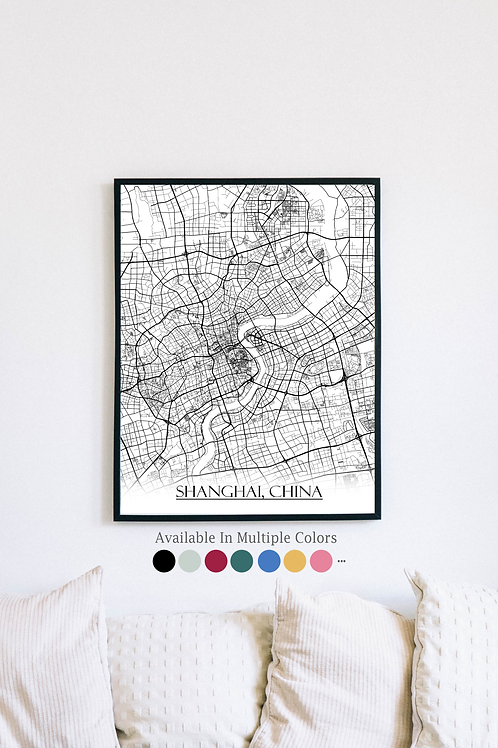 Print of Shanghai, China and all its roads