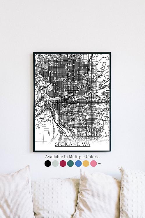 Print of Spokane, WA and all its roads