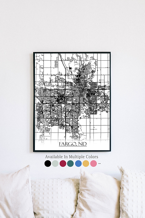 Print of Fargo, ND and all its roads
