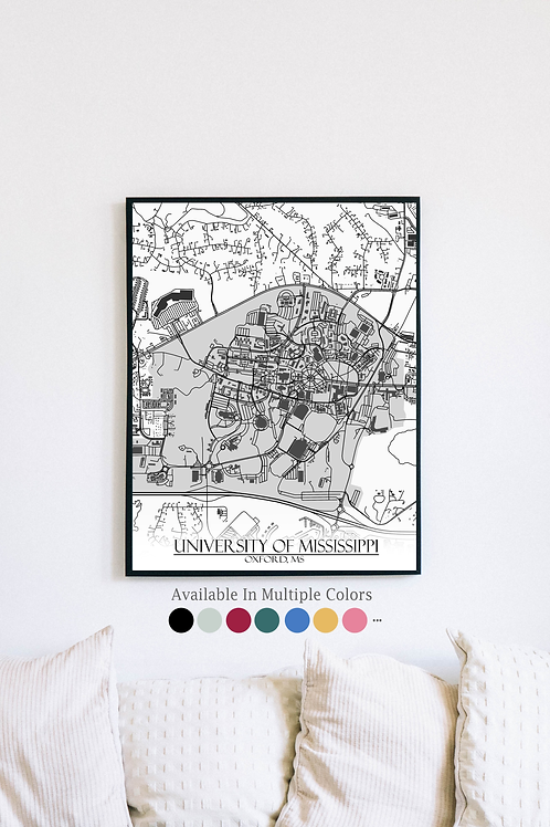 Print of University of Mississippi and all its roads