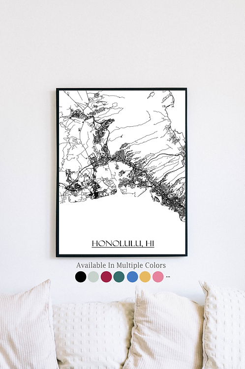 Print of Honolulu, HI and all its roads