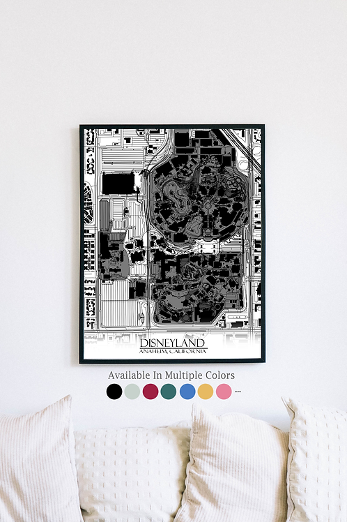 Print of Disneyland, California and all its roads