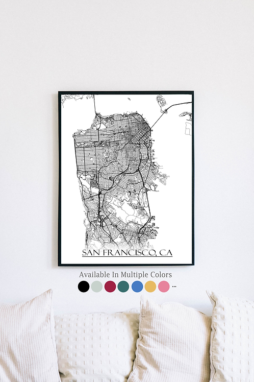 Print of San Francisco, CA and all its roads