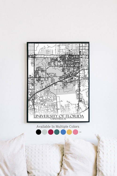 Print of University of Florida and all its roads