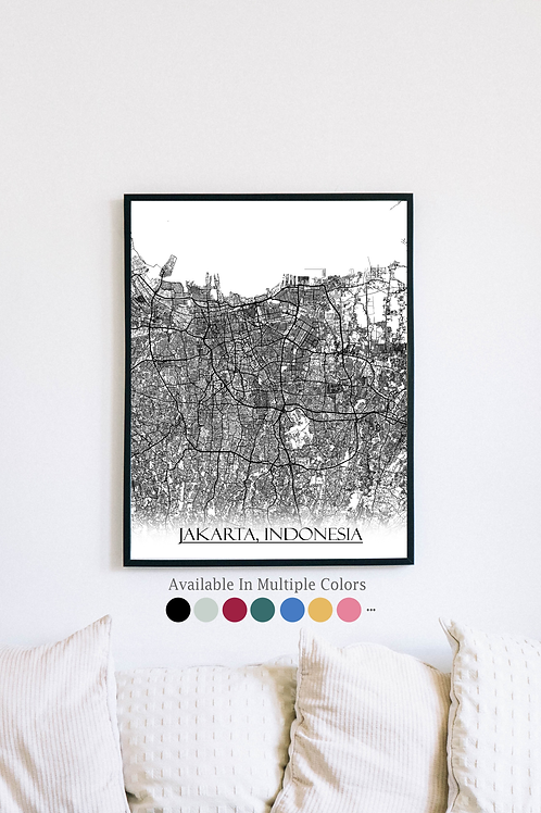 Print of Jakarta, Indonesia and all its roads