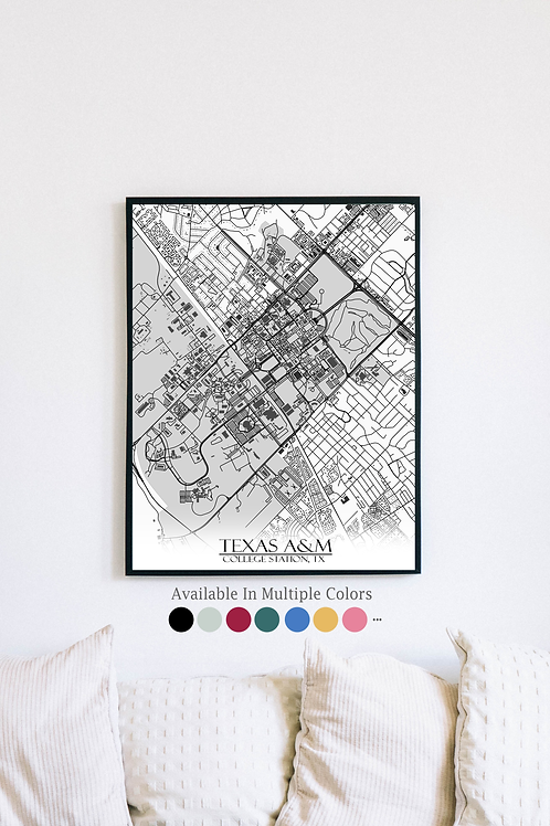 Print of Texas A&M and all its roads