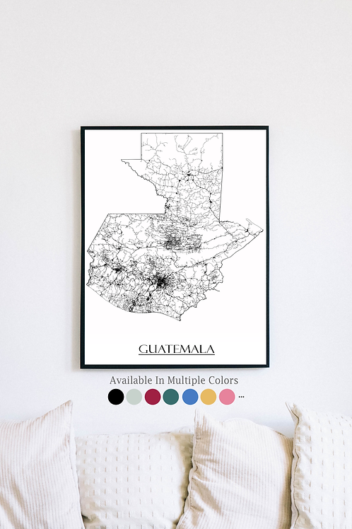 Print of Guatemala and all its roads