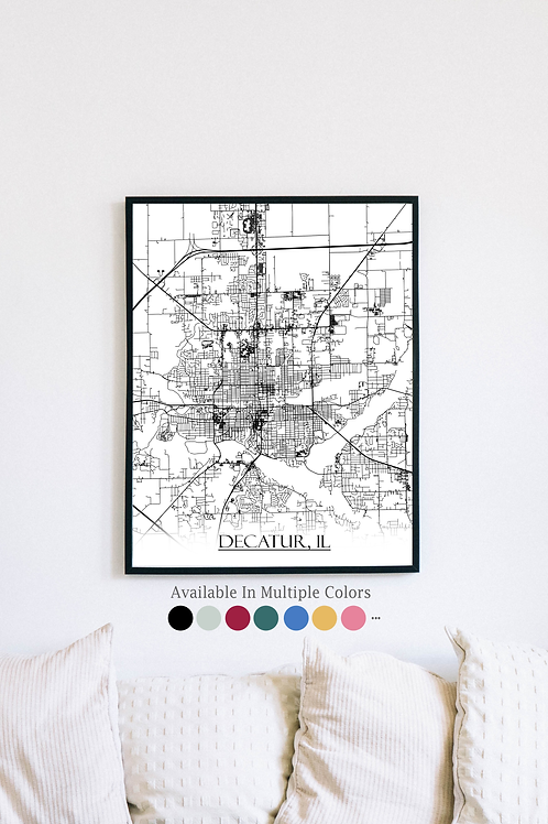 Print of Decatur, IL and all its roads