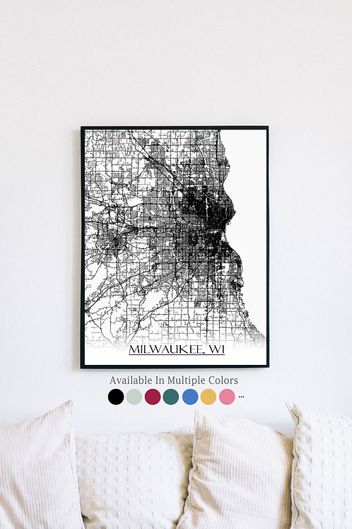 Print of Milwaukee, WI and all its roads
