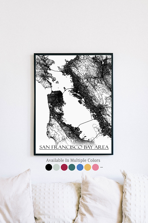 Print of San Francisco Bay Area and all its roads