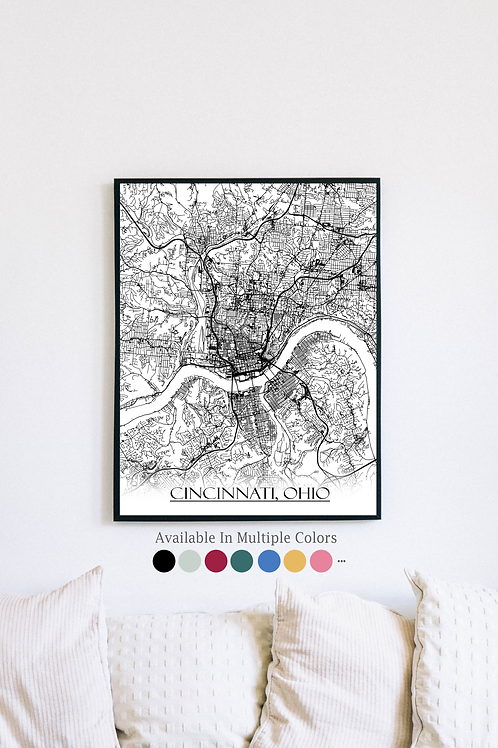 Print of Cincinnati, OH and all its roads
