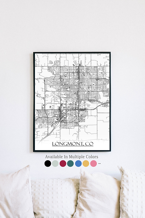 Print of Longmont, CO and all its roads