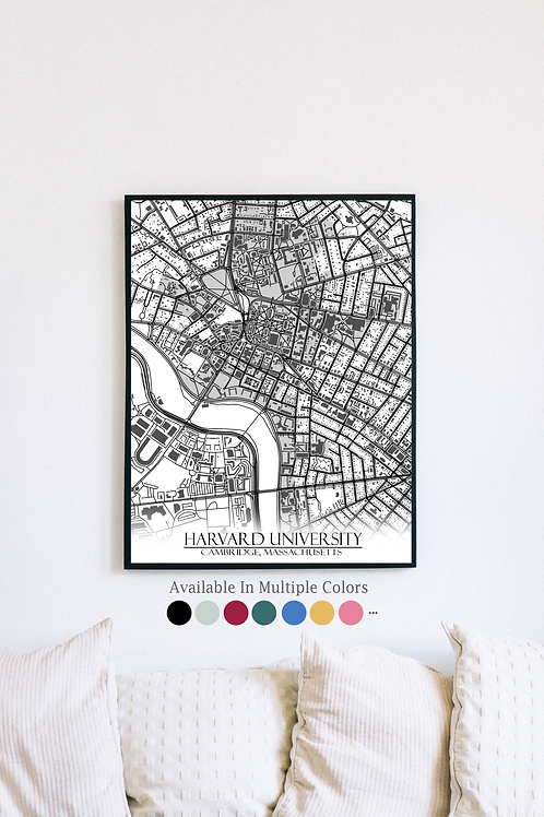 Print of Harvard University and all its roads