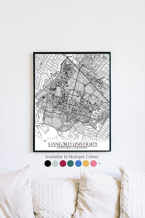 Print of Stanford University and all its roads