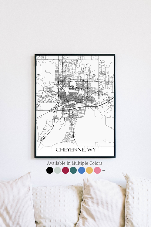 Print of Cheyenne, WY and all its roads