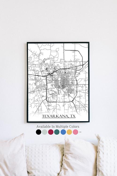 Print of Texarkana, TX and all its roads