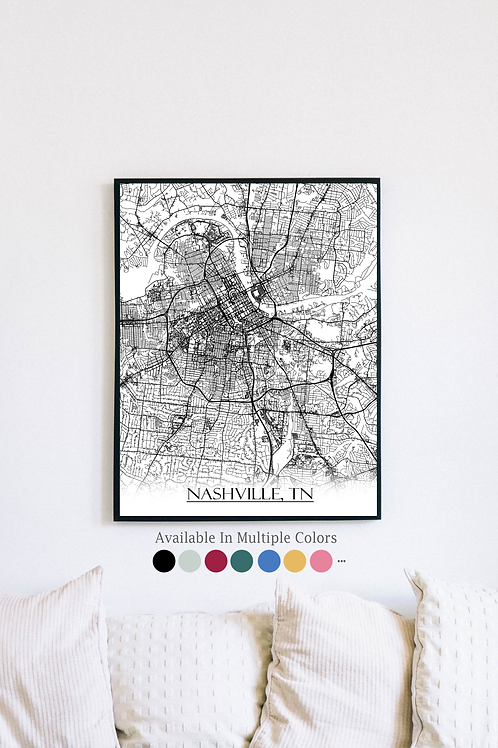 Print of Nashville, TN and all its roads