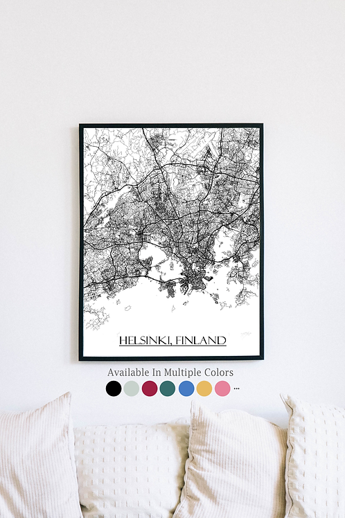 Print of Helsinki, Finland and all its roads