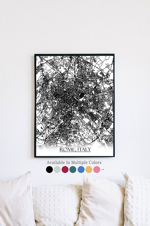Print of Rome, Italy and all its roads