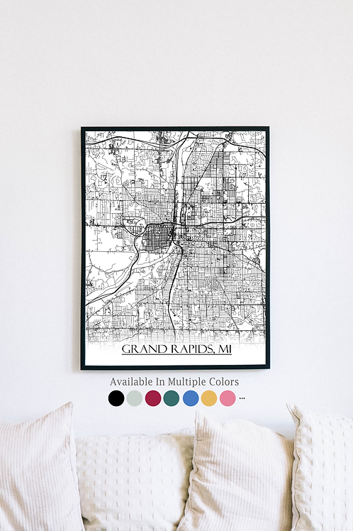 Print of Grand Rapids, MI and all its roads