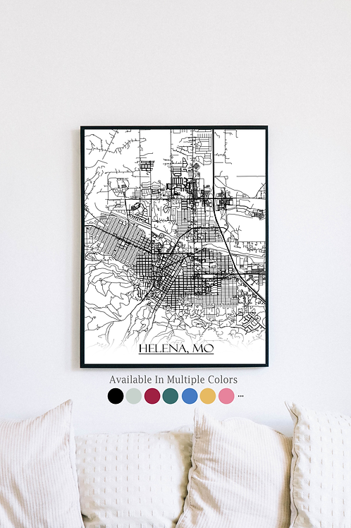 Print of Helena, MO and all its roads