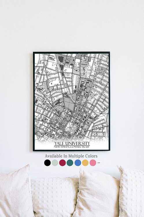 Print of Yale University and all its roads