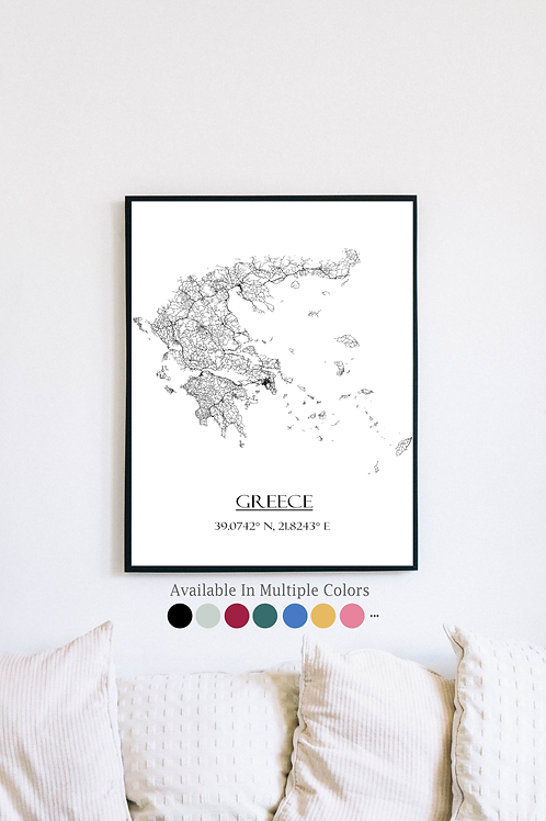 Print of Greece and all its roads