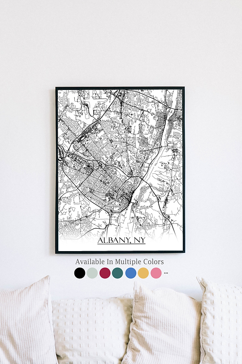 Print of Albany, NY and all its roads