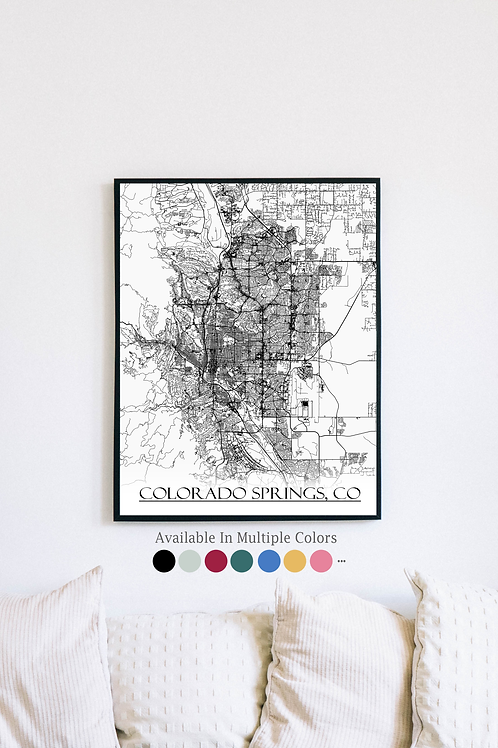 Print of Colorado Springs, CO and all its roads