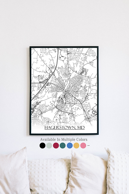 Print of Hagerstown, MD and all its roads