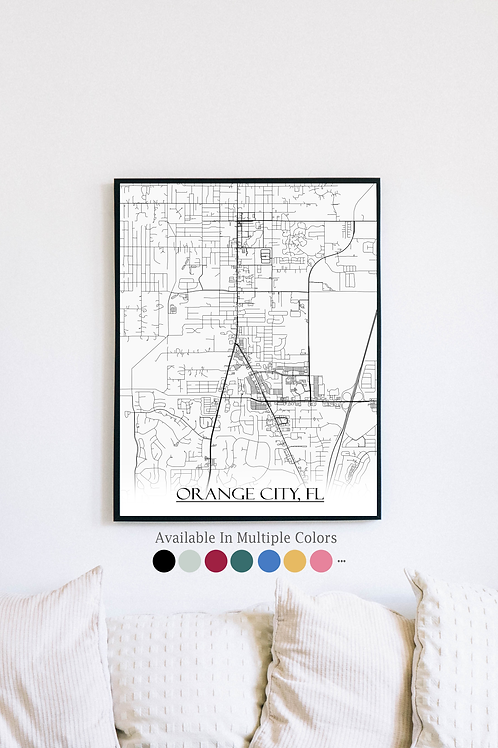Print of Orange City, FL and all its roads