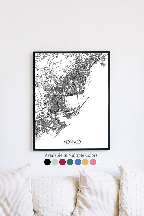 Print of Monaco and all its roads