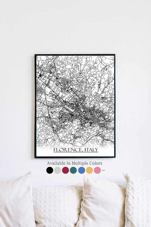 Print of Florence, Italy and all its roads