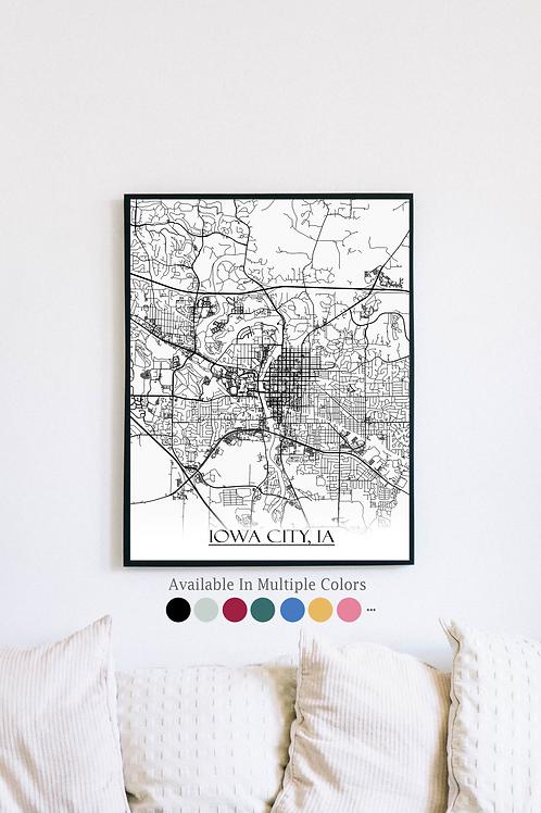 Print of Iowa City, IA and all its roads
