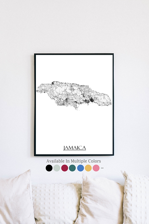 Print of Jamaica and all its roads