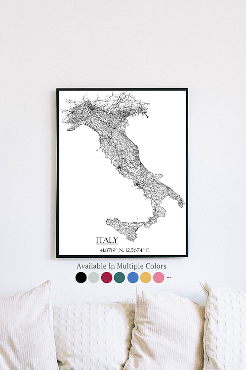 Print of Italy and all its roads